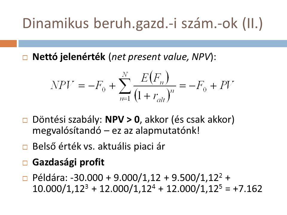 Dinamikus beruh.gazd.-i szám.-ok (II.)  Nettó jelenérték (net present value, NPV):  Döntési szabály: NPV > 0, akkor (és csak akkor) megvalósítandó – ez az alapmutatónk.