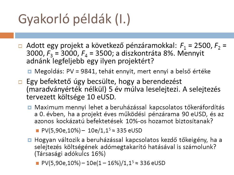 Gyakorló példák (I.)  Adott egy projekt a következő pénzáramokkal: F 1 = 2500, F 2 = 3000, F 3 = 3000, F 4 = 3500; a diszkontráta 8%.