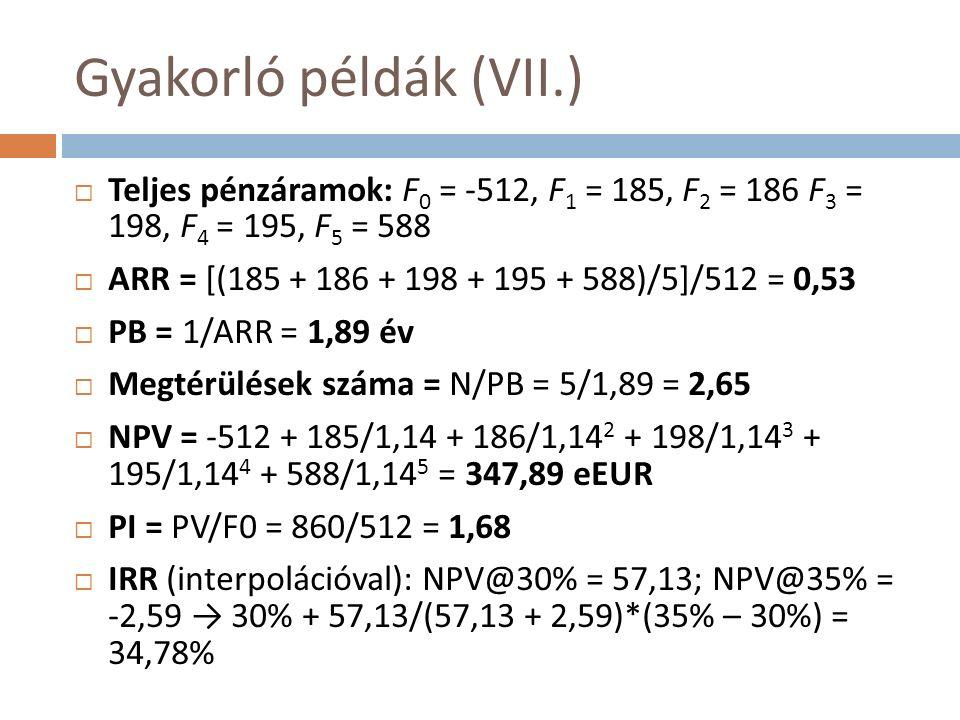 Gyakorló példák (VII.)  Teljes pénzáramok: F 0 = -512, F 1 = 185, F 2 = 186 F 3 = 198, F 4 = 195, F 5 = 588  ARR = [(185 + 186 + 198 + 195 + 588)/5]/512 = 0,53  PB = 1/ARR = 1,89 év  Megtérülések száma = N/PB = 5/1,89 = 2,65  NPV = -512 + 185/1,14 + 186/1,14 2 + 198/1,14 3 + 195/1,14 4 + 588/1,14 5 = 347,89 eEUR  PI = PV/F0 = 860/512 = 1,68  IRR (interpolációval): NPV@30% = 57,13; NPV@35% = -2,59 → 30% + 57,13/(57,13 + 2,59)*(35% – 30%) = 34,78%