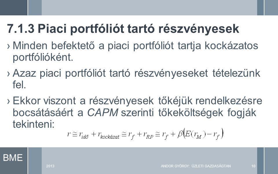 BME 2013ANDOR GYÖRGY: ÜZLETI GAZDASÁGTAN10 ›Minden befektető a piaci portfóliót tartja kockázatos portfólióként.