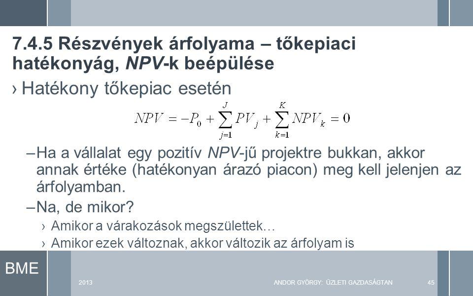 BME 2013ANDOR GYÖRGY: ÜZLETI GAZDASÁGTAN45 ›Hatékony tőkepiac esetén –Ha a vállalat egy pozitív NPV-jű projektre bukkan, akkor annak értéke (hatékonyan árazó piacon) meg kell jelenjen az árfolyamban.