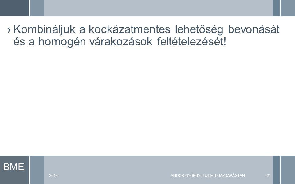 2013ANDOR GYÖRGY: ÜZLETI GAZDASÁGTAN21 ›Kombináljuk a kockázatmentes lehetőség bevonását és a homogén várakozások feltételezését!