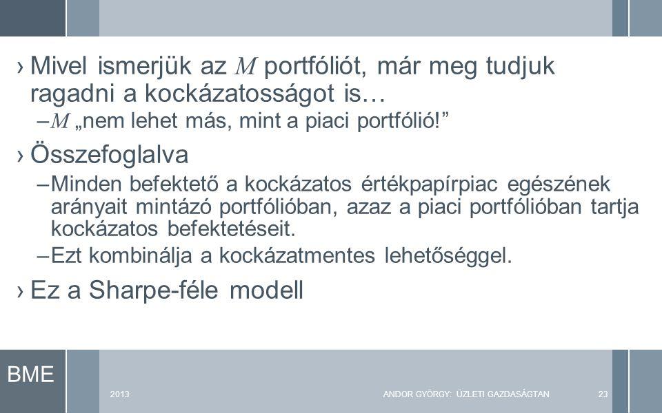 """BME 2013ANDOR GYÖRGY: ÜZLETI GAZDASÁGTAN23 ›Mivel ismerjük az M portfóliót, már meg tudjuk ragadni a kockázatosságot is… – M """"nem lehet más, mint a piaci portfólió! ›Összefoglalva –Minden befektető a kockázatos értékpapírpiac egészének arányait mintázó portfólióban, azaz a piaci portfólióban tartja kockázatos befektetéseit."""