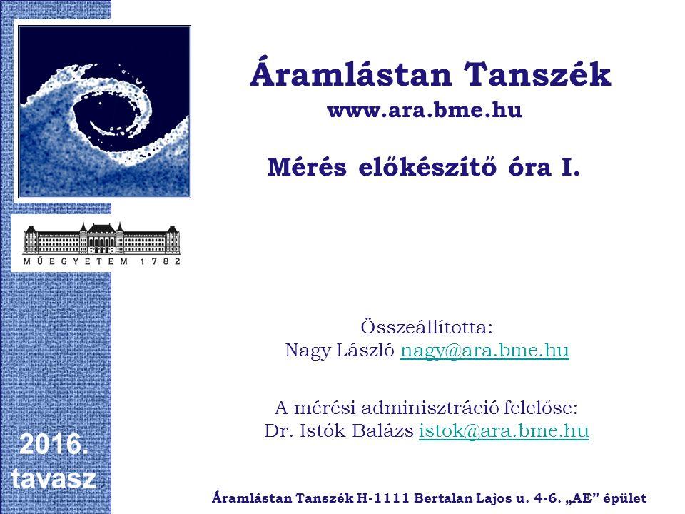 Összeállította: Nagy László nagy@ara.bme.hunagy@ara.bme.hu Áramlástan Tanszék www.ara.bme.hu Mérés előkészítő óra I.