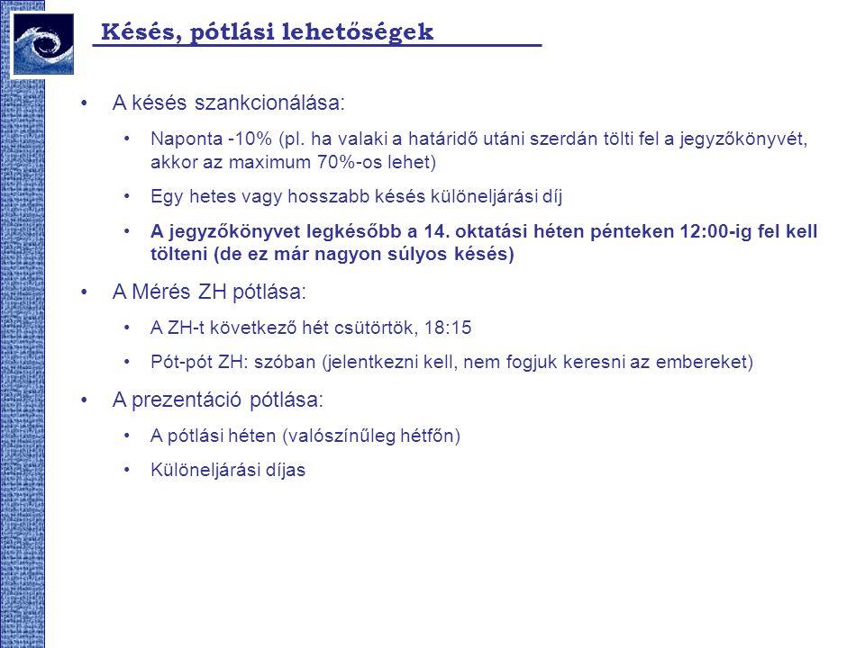 Késés, pótlási lehetőségek A késés szankcionálása: Naponta -10% (pl.