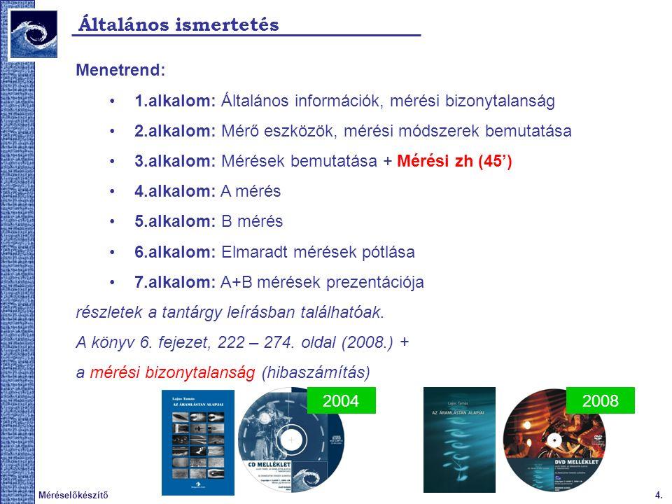 4.Méréselőkészítő Általános ismertetés Menetrend: 1.alkalom: Általános információk, mérési bizonytalanság 2.alkalom: Mérő eszközök, mérési módszerek bemutatása 3.alkalom: Mérések bemutatása + Mérési zh (45') 4.alkalom: A mérés 5.alkalom: B mérés 6.alkalom: Elmaradt mérések pótlása 7.alkalom: A+B mérések prezentációja részletek a tantárgy leírásban találhatóak.