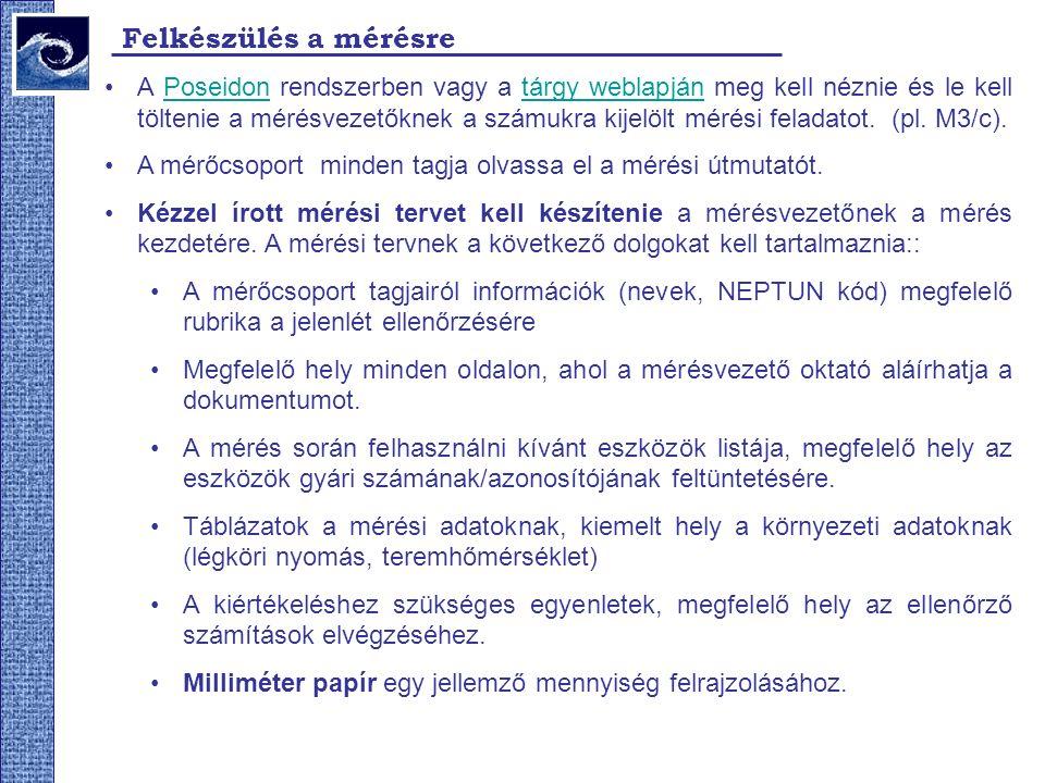 Felkészülés a mérésre A Poseidon rendszerben vagy a tárgy weblapján meg kell néznie és le kell töltenie a mérésvezetőknek a számukra kijelölt mérési feladatot.