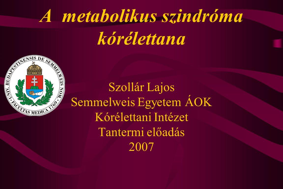 A metabolikus szindróma részelemei és következményei Viscerális obesitas  Inzulin rezisztencia Magas vérnyomás Atherogén dyslipidemia Proinflammatorikus állapot Prothrombotikus állapot 2.