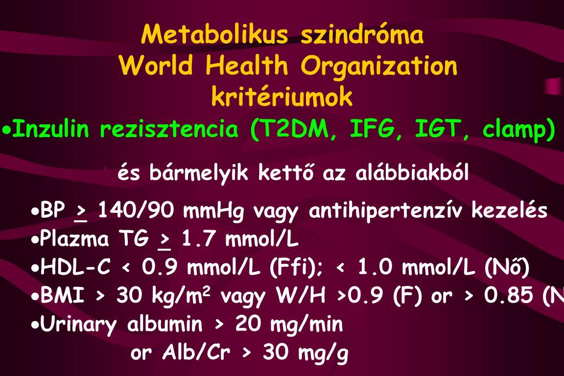 Metabolikus szindróma World Health Organization kritériumok  Inzulin rezisztencia (T2DM, IFG, IGT, clamp) + és bármelyik kettő az alábbiakból  BP > 140/90 mmHg vagy antihipertenzív kezelés  Plazma TG > 1.7 mmol/L  HDL-C < 0.9 mmol/L (Ffi); < 1.0 mmol/L (Nő)  BMI > 30 kg/m 2 vagy W/H >0.9 (F) or > 0.85 (N)  Urinary albumin > 20 mg/min or Alb/Cr > 30 mg/g