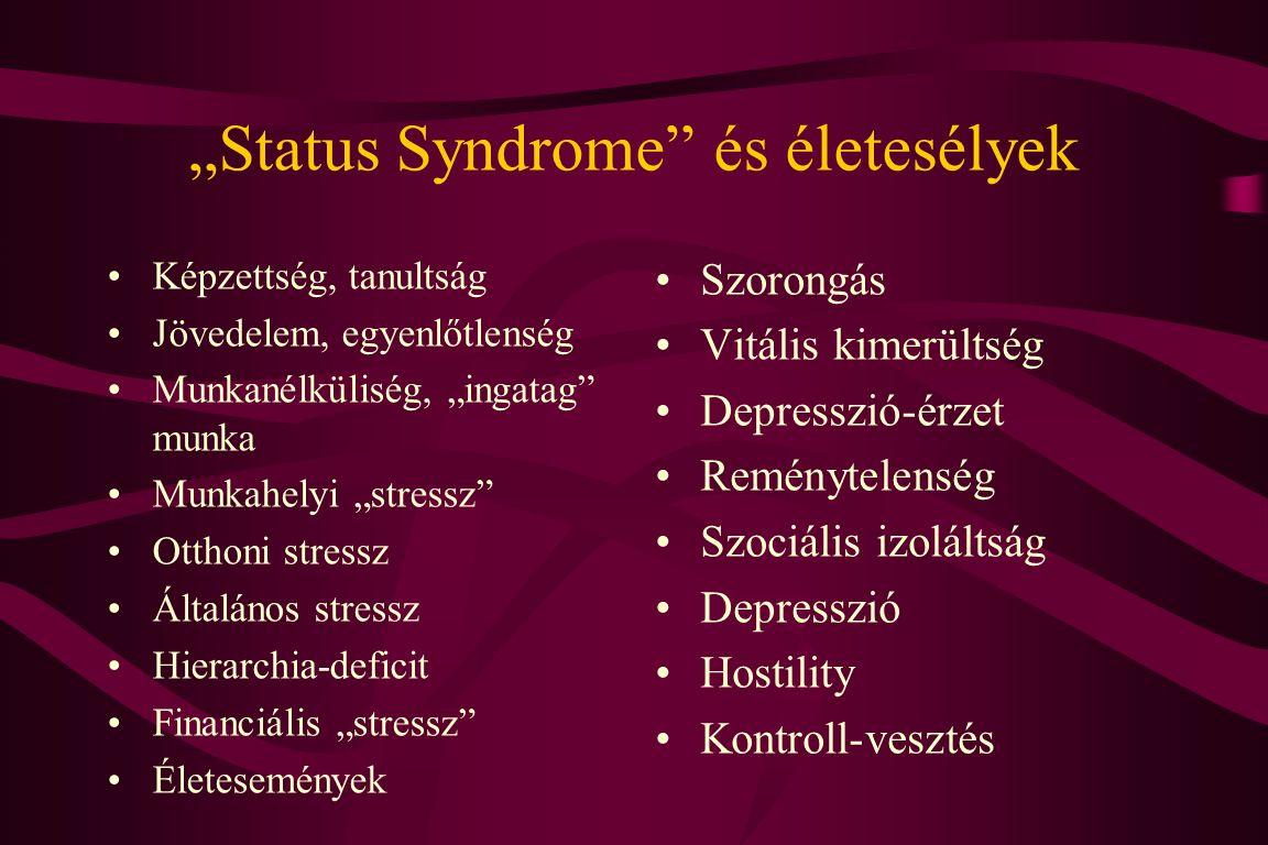 """""""Status Syndrome és életesélyek Képzettség, tanultság Jövedelem, egyenlőtlenség Munkanélküliség, """"ingatag munka Munkahelyi """"stressz Otthoni stressz Általános stressz Hierarchia-deficit Financiális """"stressz Életesemények Szorongás Vitális kimerültség Depresszió-érzet Reménytelenség Szociális izoláltság Depresszió Hostility Kontroll-vesztés"""