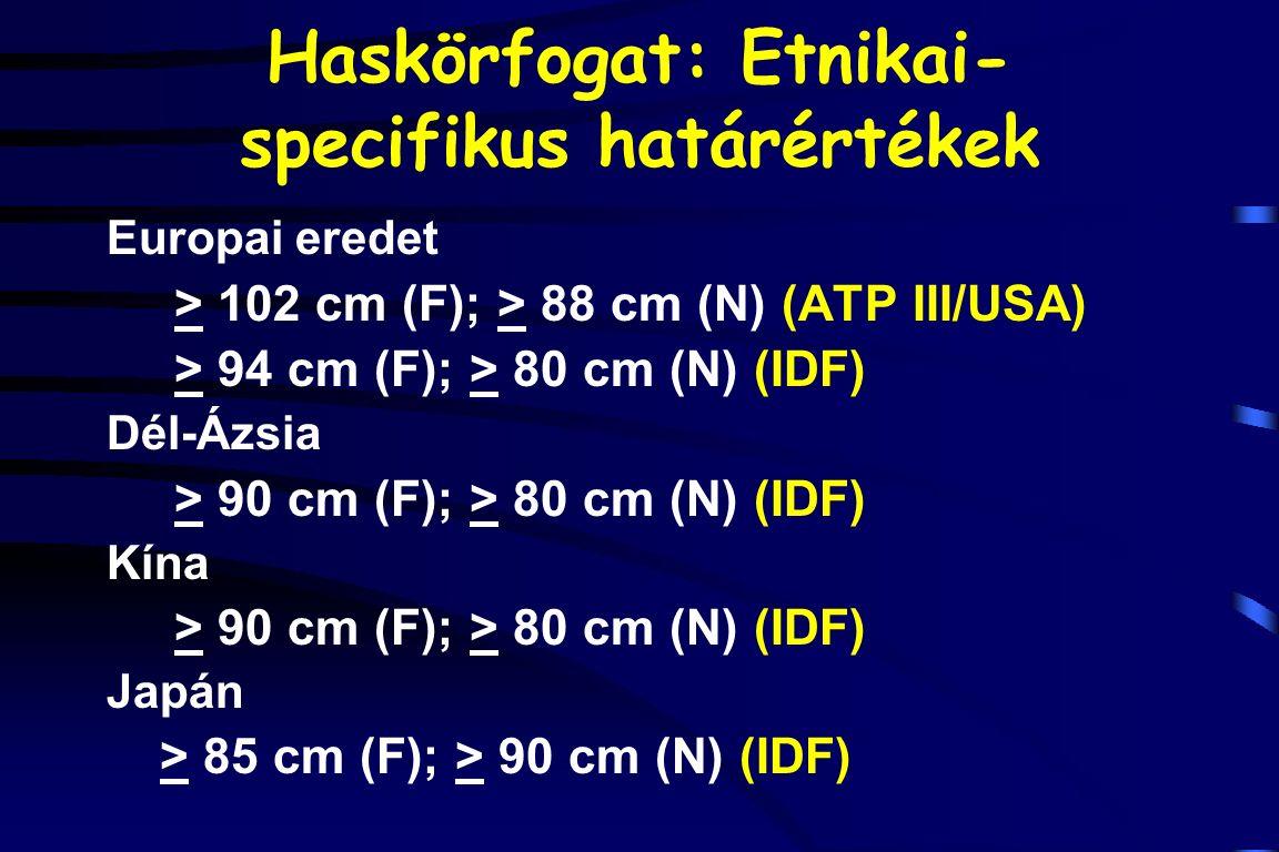 Haskörfogat: Etnikai- specifikus határértékek Europai eredet > 102 cm (F); > 88 cm (N) (ATP III/USA) > 94 cm (F); > 80 cm (N) (IDF) Dél-Ázsia > 90 cm
