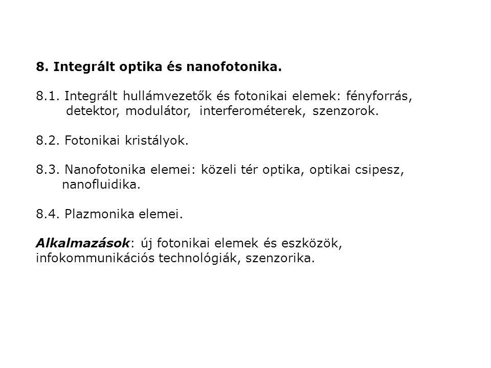 8. Integrált optika és nanofotonika. 8.1. Integrált hullámvezetők és fotonikai elemek: fényforrás, detektor, modulátor, interferométerek, szenzorok. 8