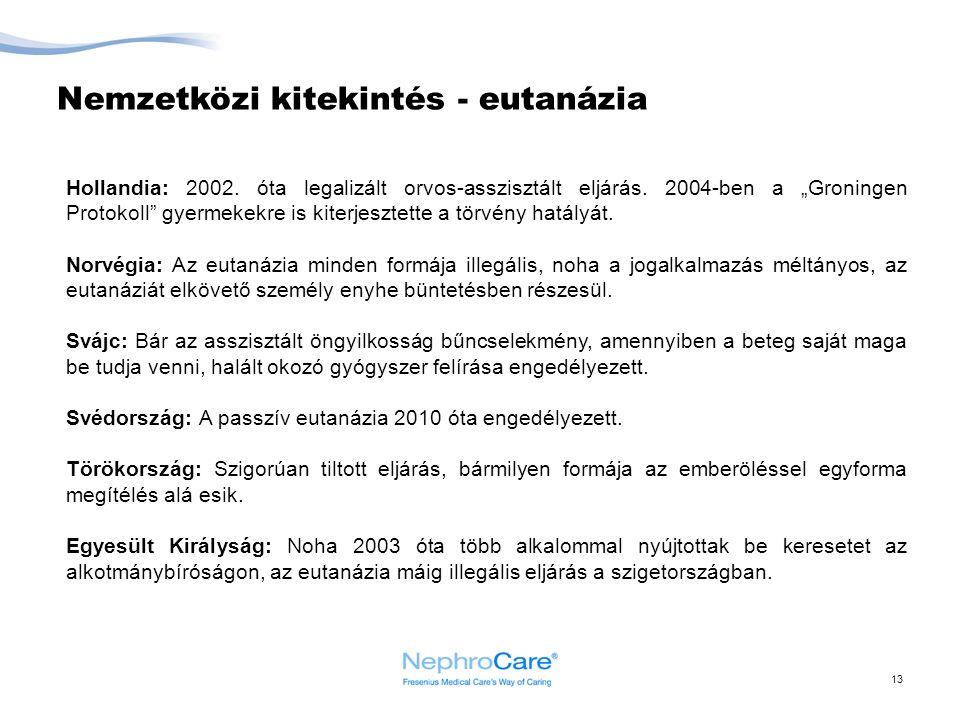 """Nemzetközi kitekintés - eutanázia 13 Hollandia: 2002. óta legalizált orvos-asszisztált eljárás. 2004-ben a """"Groningen Protokoll"""" gyermekekre is kiterj"""