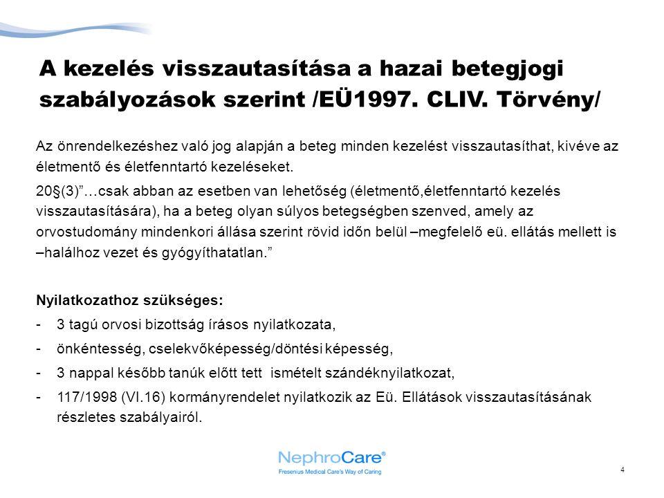 A kezelés visszautasítása a hazai betegjogi szabályozások szerint /EÜ1997. CLIV. Törvény/ Az önrendelkezéshez való jog alapján a beteg minden kezelést