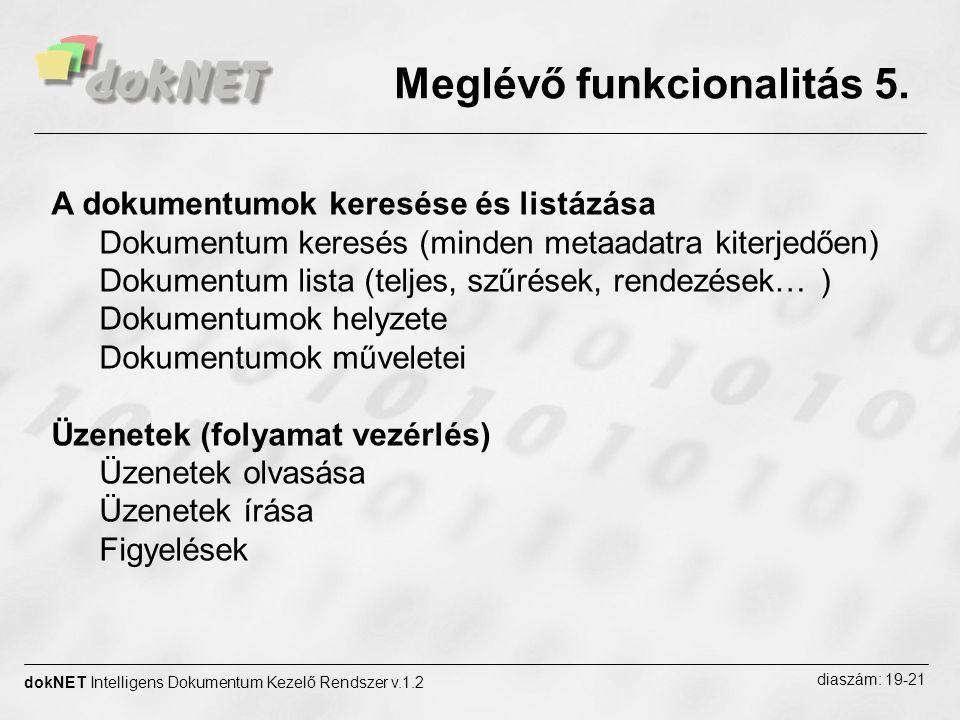 Meglévő funkcionalitás 5. dokNET Intelligens Dokumentum Kezelő Rendszer v.1.2 diaszám: 19-21 A dokumentumok keresése és listázása Dokumentum keresés (