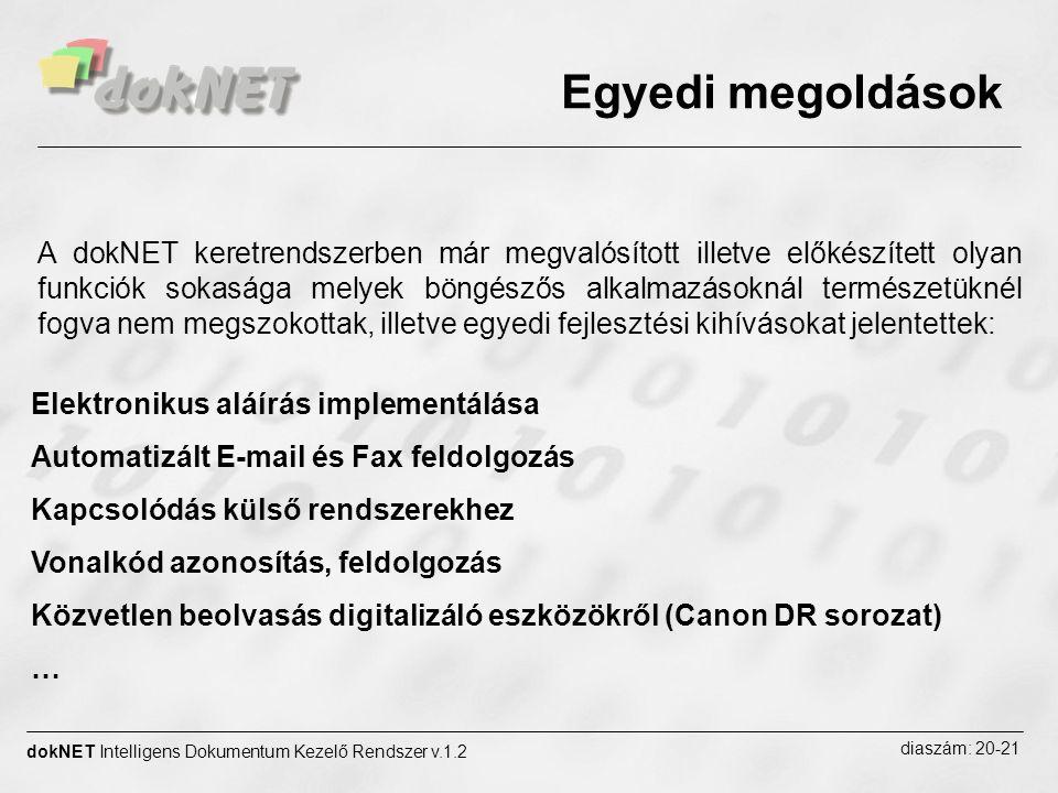 Egyedi megoldások dokNET Intelligens Dokumentum Kezelő Rendszer v.1.2 diaszám: 20-21 Elektronikus aláírás implementálása Automatizált E-mail és Fax fe