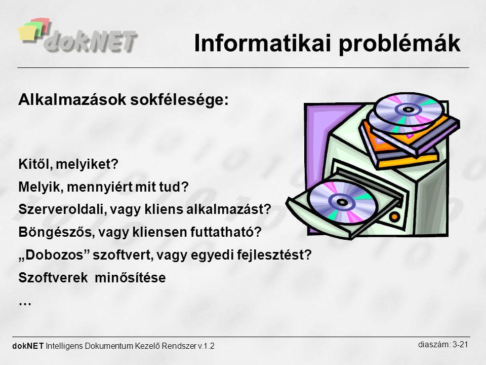 dokNET Intelligens Dokumentum Kezelő Rendszer v.1.2 diaszám: 4-21 Két lényeges szempont: Dobozos terméket vagy Egyedi fejlesztést Böngészőst vagy Kliensen futtathatót