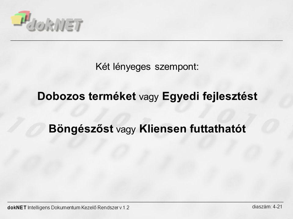 dokNET Intelligens Dokumentum Kezelő Rendszer v.1.2 diaszám: 4-21 Két lényeges szempont: Dobozos terméket vagy Egyedi fejlesztést Böngészőst vagy Klie