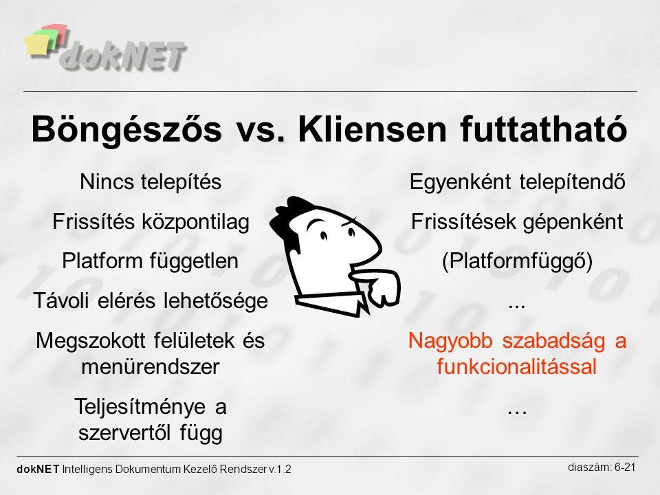 . Böngészős vs. Kliensen futtatható dokNET Intelligens Dokumentum Kezelő Rendszer v.1.2 diaszám: 6-21 Nincs telepítés Frissítés központilag Platform f
