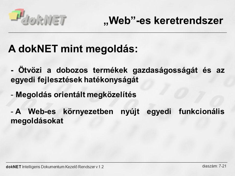 """""""Web""""-es keretrendszer dokNET Intelligens Dokumentum Kezelő Rendszer v.1.2 diaszám: 7-21 - Ötvözi a dobozos termékek gazdaságosságát és az egyedi fejl"""