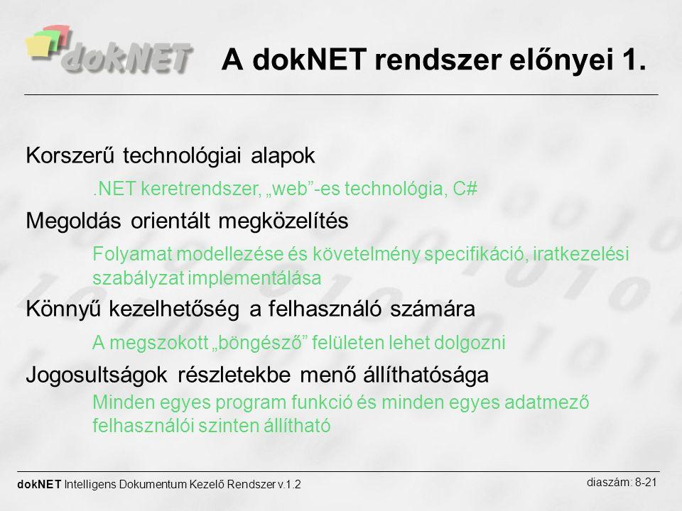 """A dokNET rendszer előnyei 1. dokNET Intelligens Dokumentum Kezelő Rendszer v.1.2 diaszám: 8-21 Korszerű technológiai alapok.NET keretrendszer, """"web""""-e"""