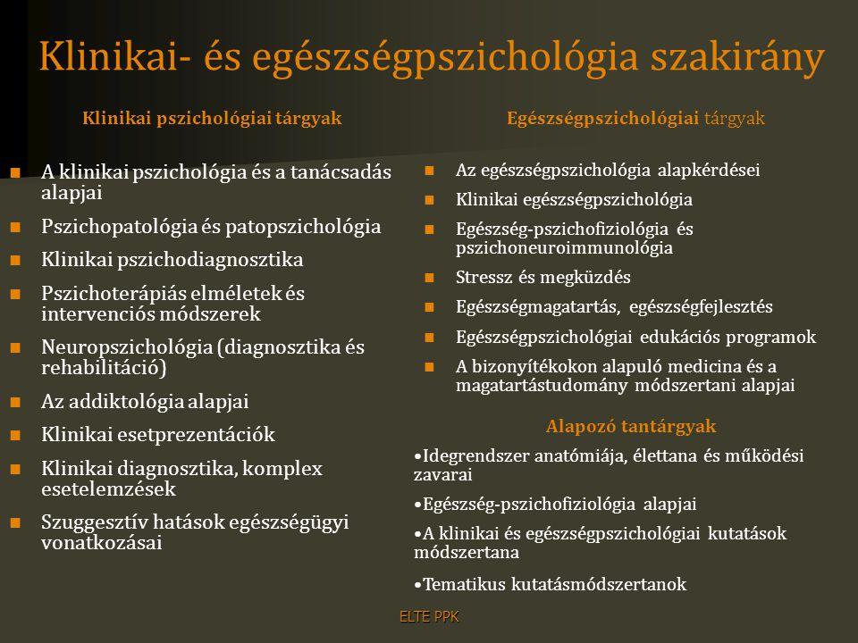 ELTE PPK Klinikai pszichológiai tárgyak A klinikai pszichológia és a tanácsadás alapjai Pszichopatológia és patopszichológia Klinikai pszichodiagnoszt