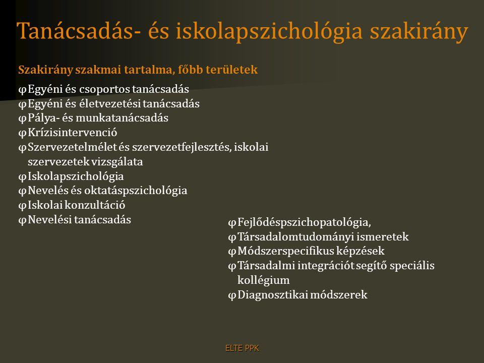 ELTE PPK Tanácsadás- és iskolapszichológia szakirány Szakirány szakmai tartalma, főbb területek φEgyéni és csoportos tanácsadás φEgyéni és életvezetés
