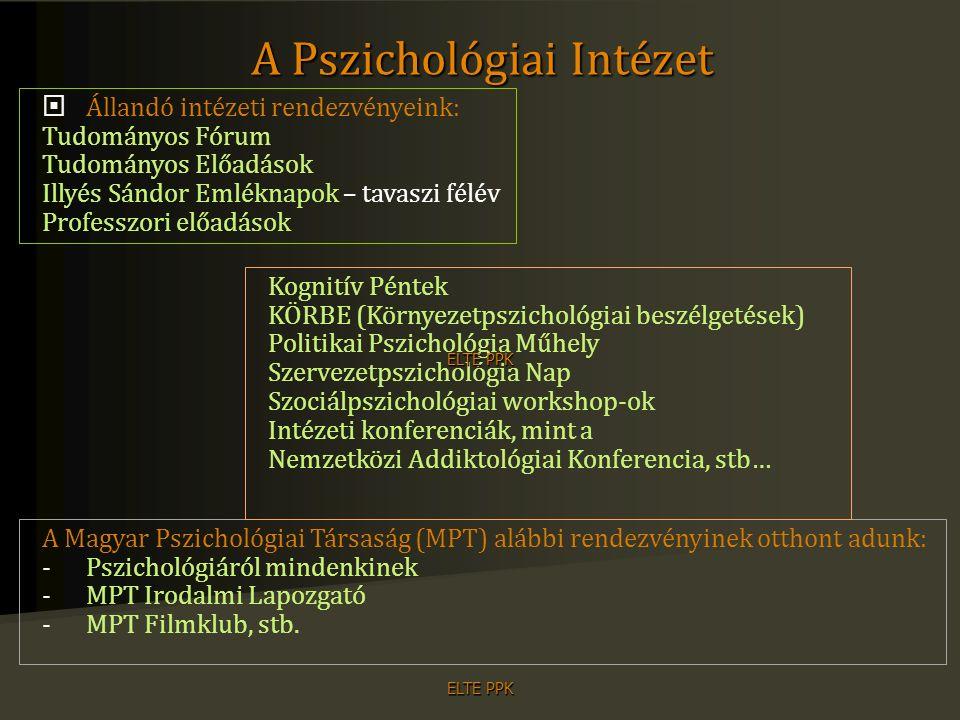 ELTE PPK Alapozó tárgyak Elméleti alapozás a pszichológia alapterületein Fejlődéspszichológia Kognitív pszichológia Személyiségpszichológia Szociálpszichológia Szakmai törzsanyag Módszertani készségfejlesztés Pályaszocializáció és pszichológus etika Kommunikációs készségfejlesztés Szakdolgozat Szabadon választható kurzusok