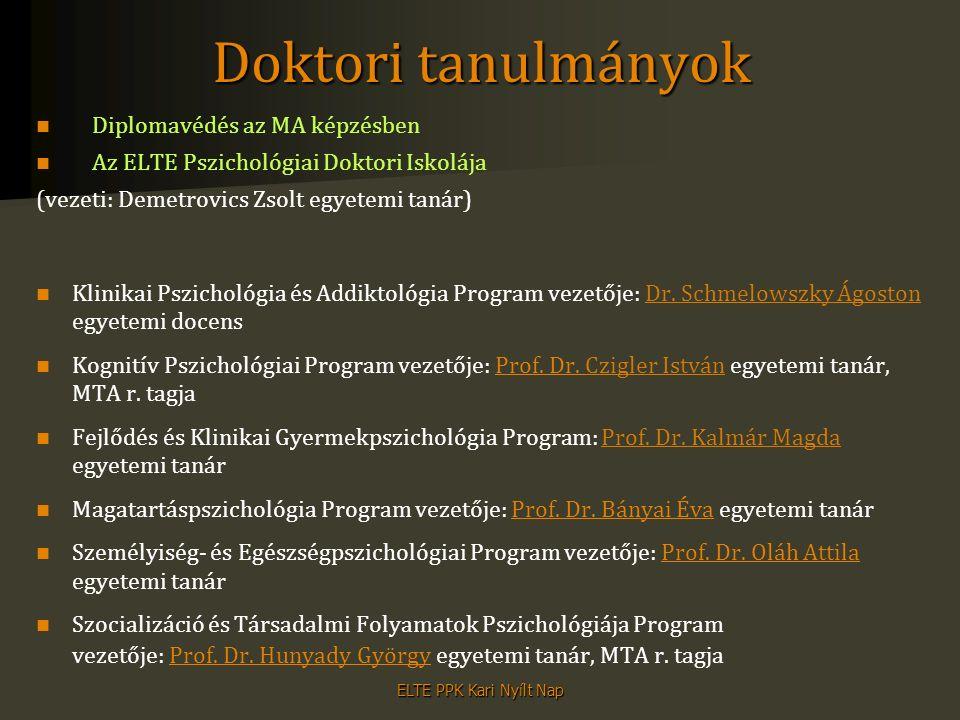 Doktori tanulmányok Diplomavédés az MA képzésben Az ELTE Pszichológiai Doktori Iskolája (vezeti: Demetrovics Zsolt egyetemi tanár) Klinikai Pszichológ