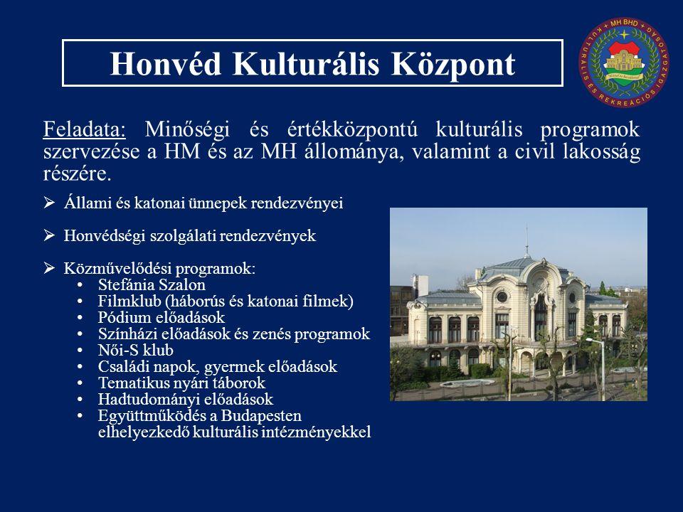 Honvéd Kulturális Központ Feladata: Minőségi és értékközpontú kulturális programok szervezése a HM és az MH állománya, valamint a civil lakosság részére.