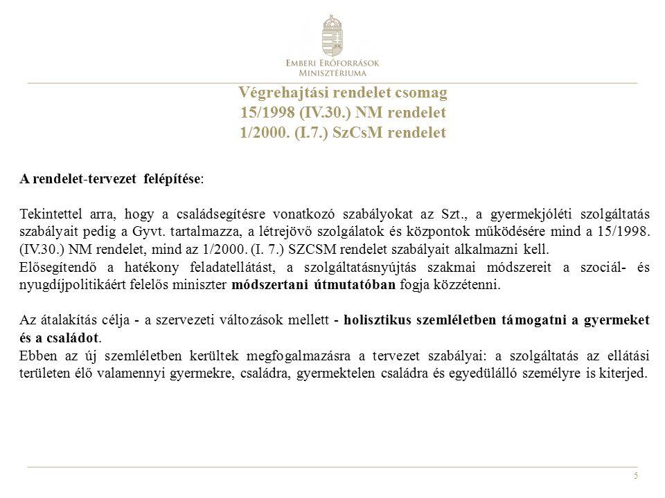 5 Végrehajtási rendelet csomag 15/1998 (IV.30.) NM rendelet 1/2000.