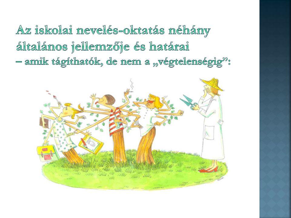 """ teljesítmény és megfelelési kényszer az oktatásban  nem tud minden nevelési helyzetre megoldást adni (alapvető érzelmi, biztonsági szükségletek – szeretetnyelvek alkalmazása """"nagy tömegben ) – nem is kell…  """"rendszerben gondolkodás  személyesség  nem feladata a család, az anyai – apai funkciók, szerepek, felelősség átvétele – képtelenség/lehetetlenség  ne is próbálkozzunk…  leginkább a biztonságot adó érzelmi/baráti kapcsolatok kialakítása terén: korlátozottak a lehetőségek: időhiány  empátiacsökkenés, frusztráció  agresszivitás,  nagyon sok olyan érzelmi, viselkedésbeli működés van a személyiségben, ami indirekt módon, valaminek a hatására indul el (pl.: vicc  nevetés )"""