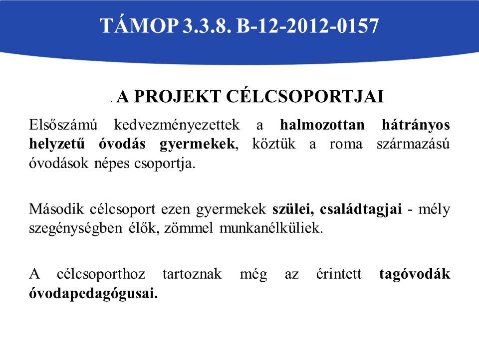 Esélyegyenlőségi programok, rendezvények célja volt: TÁMOP-3.3.8. B-12-2012-0157