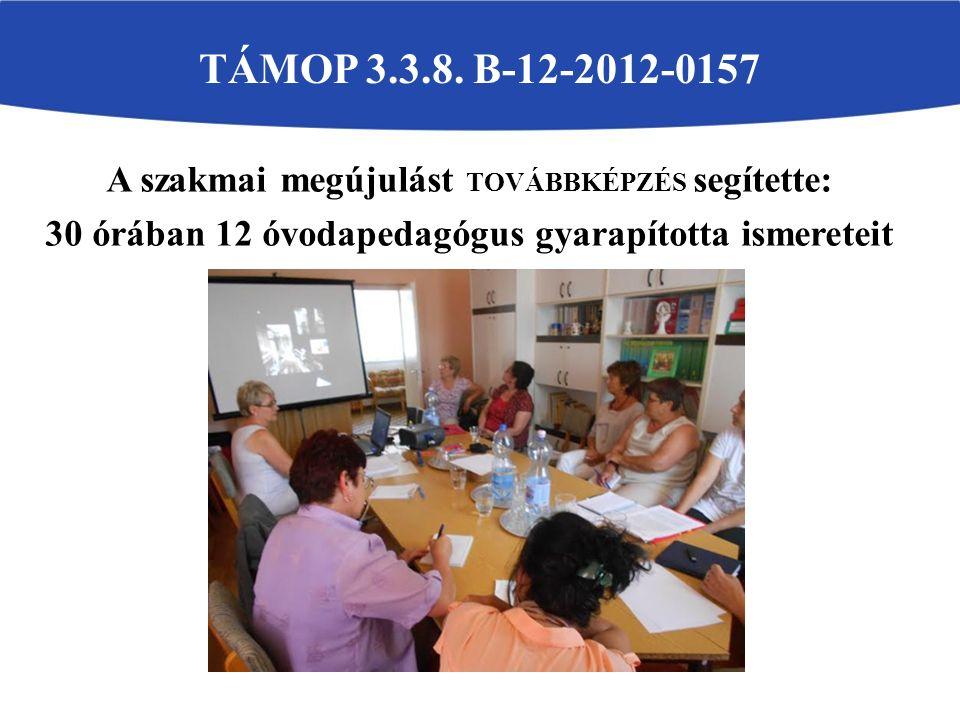 A szakmai megújulást TOVÁBBKÉPZÉS segítette: 30 órában 12 óvodapedagógus gyarapította ismereteit TÁMOP 3.3.8.