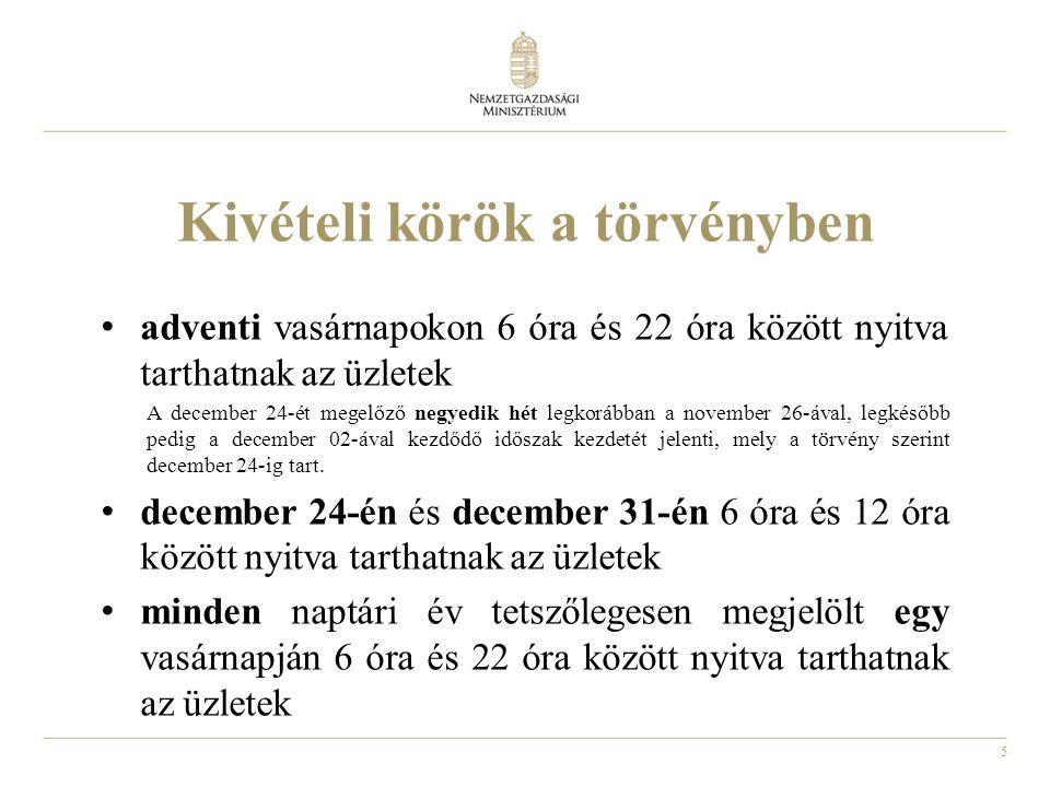 5 Kivételi körök a törvényben adventi vasárnapokon 6 óra és 22 óra között nyitva tarthatnak az üzletek A december 24-ét megelőző negyedik hét legkorábban a november 26-ával, legkésőbb pedig a december 02-ával kezdődő időszak kezdetét jelenti, mely a törvény szerint december 24-ig tart.