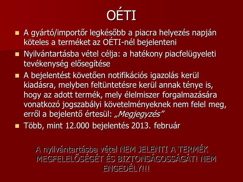 OÉTI A gyártó/importőr legkésőbb a piacra helyezés napján köteles a terméket az OÉTI-nél bejelenteni A gyártó/importőr legkésőbb a piacra helyezés nap