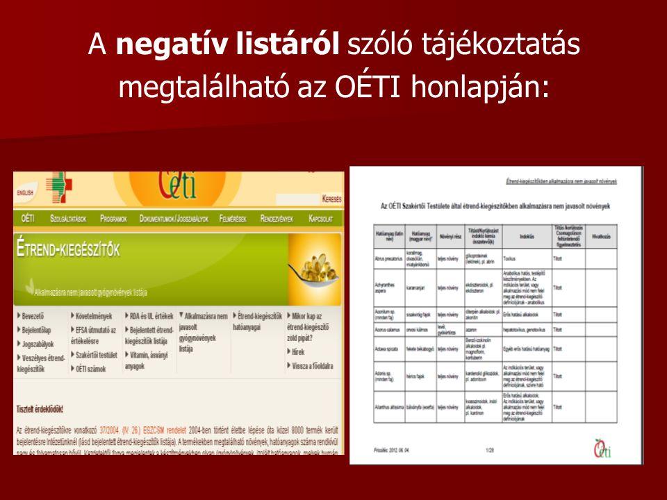 A negatív listáról szóló tájékoztatás megtalálható az OÉTI honlapján: