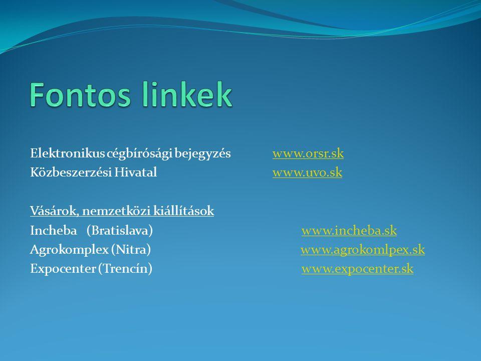 Elektronikus cégbírósági bejegyzés www.orsr.skwww.orsr.sk Közbeszerzési Hivatal www.uvo.skwww.uvo.sk Vásárok, nemzetközi kiállítások Incheba (Bratislava) www.incheba.skwww.incheba.sk Agrokomplex (Nitra) www.agrokomlpex.skwww.agrokomlpex.sk Expocenter (Trencín) www.expocenter.skwww.expocenter.sk