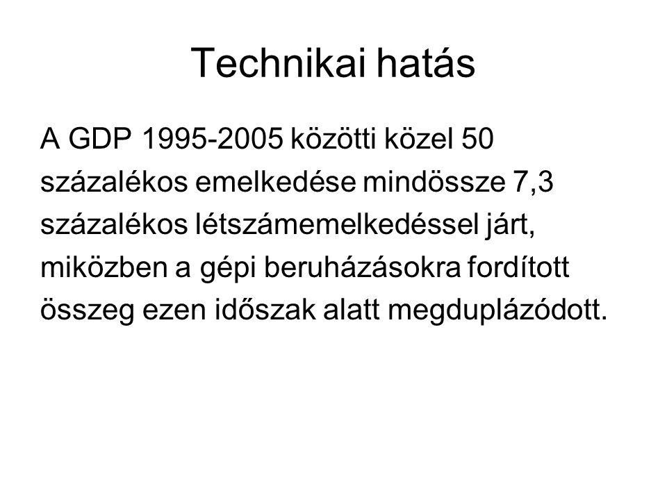 Technikai hatás A GDP 1995-2005 közötti közel 50 százalékos emelkedése mindössze 7,3 százalékos létszámemelkedéssel járt, miközben a gépi beruházásokra fordított összeg ezen időszak alatt megduplázódott.