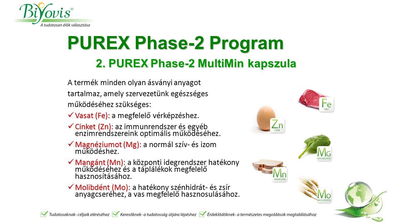 PUREX Phase-2 Program A termék minden olyan ásványi anyagot tartalmaz, amely szervezetünk egészséges működéséhez szükséges: Vasat (Fe): Vasat (Fe): a megfelelő vérképzéshez.