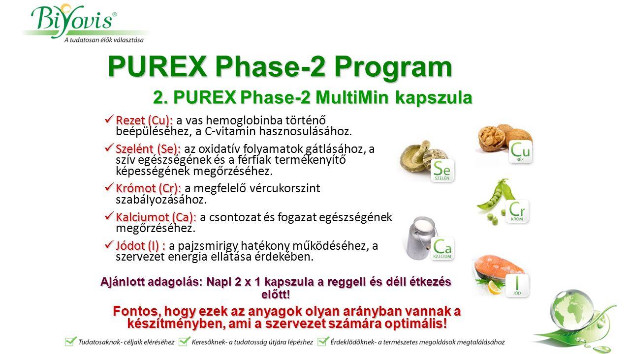 PUREX Phase-2 Program Rezet (Cu): Rezet (Cu): a vas hemoglobinba történő beépüléséhez, a C-vitamin hasznosulásához.