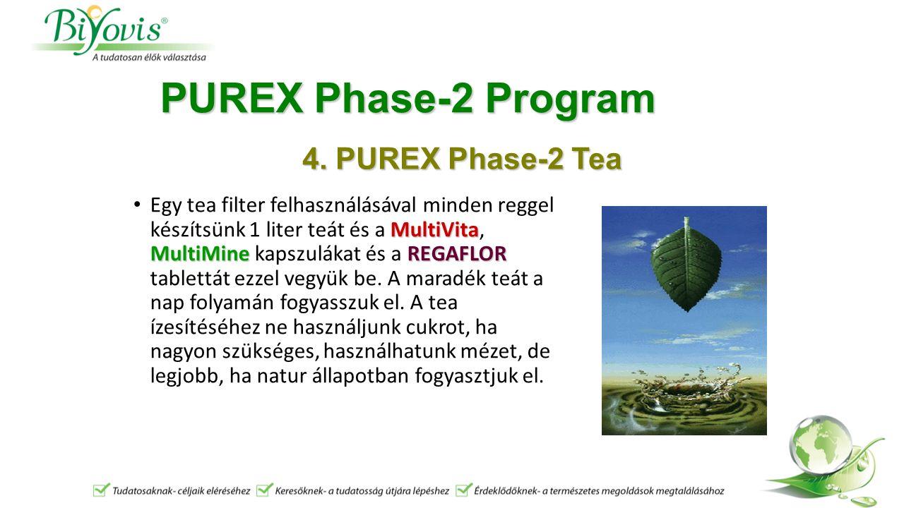 PUREX Phase-2 Program MultiVita MultiMineREGAFLOR Egy tea filter felhasználásával minden reggel készítsünk 1 liter teát és a MultiVita, MultiMine kapszulákat és a REGAFLOR tablettát ezzel vegyük be.