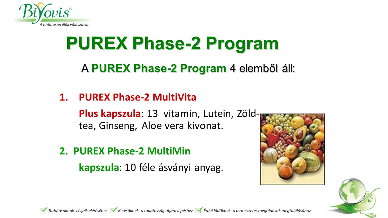 PUREX Phase-2 Program 1.PUREX Phase-2 MultiVita Plus kapszula: 13 vitamin, Lutein, Zöld- tea, Ginseng, Aloe vera kivonat. 2. PUREX Phase-2 MultiMin ka