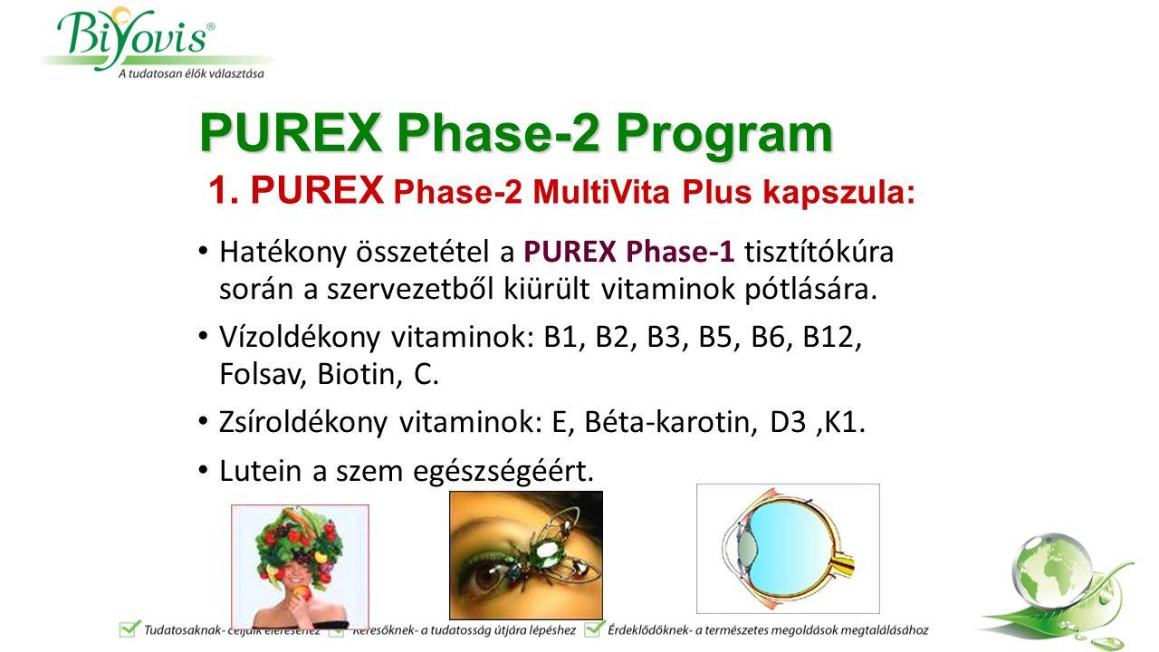 PUREX Phase-2 Program Hatékony összetétel a PUREX Phase-1 tisztítókúra során a szervezetből kiürült vitaminok pótlására.