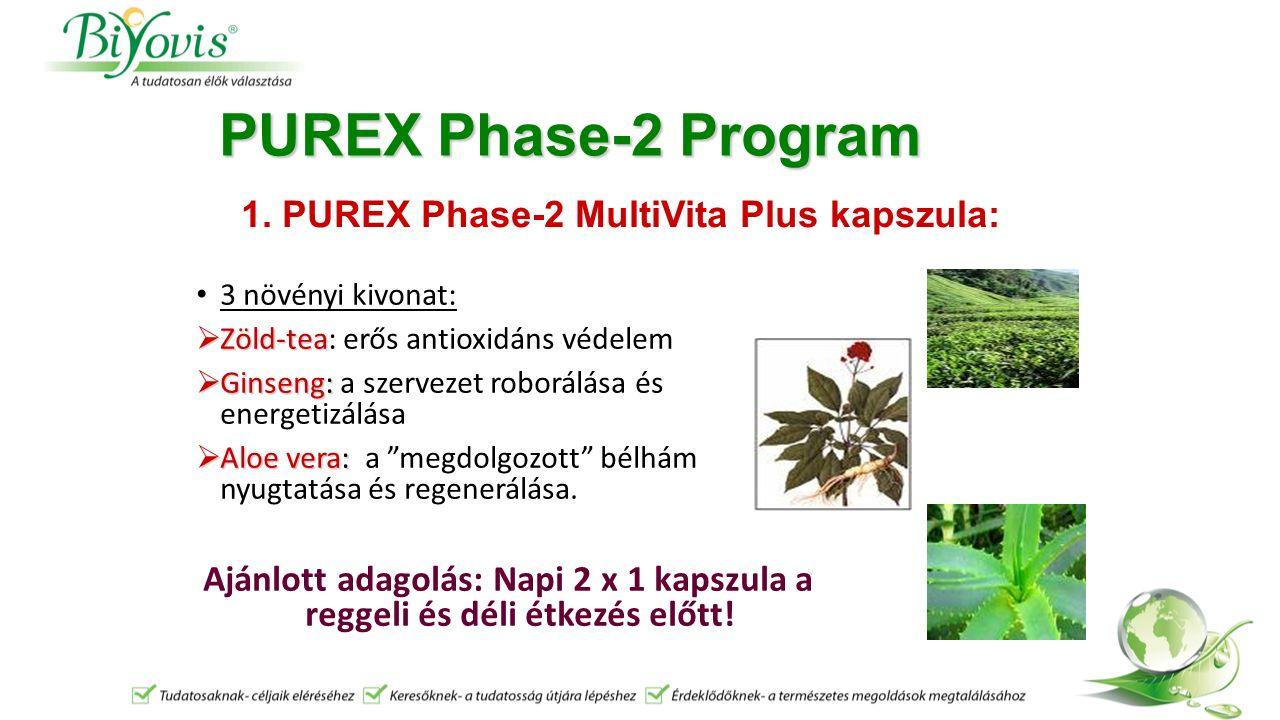 PUREX Phase-2 Program 3 növényi kivonat:  Zöld-tea  Zöld-tea: erős antioxidáns védelem  Ginseng:  Ginseng: a szervezet roborálása és energetizálása  Aloe vera:  Aloe vera: a megdolgozott bélhám nyugtatása és regenerálása.