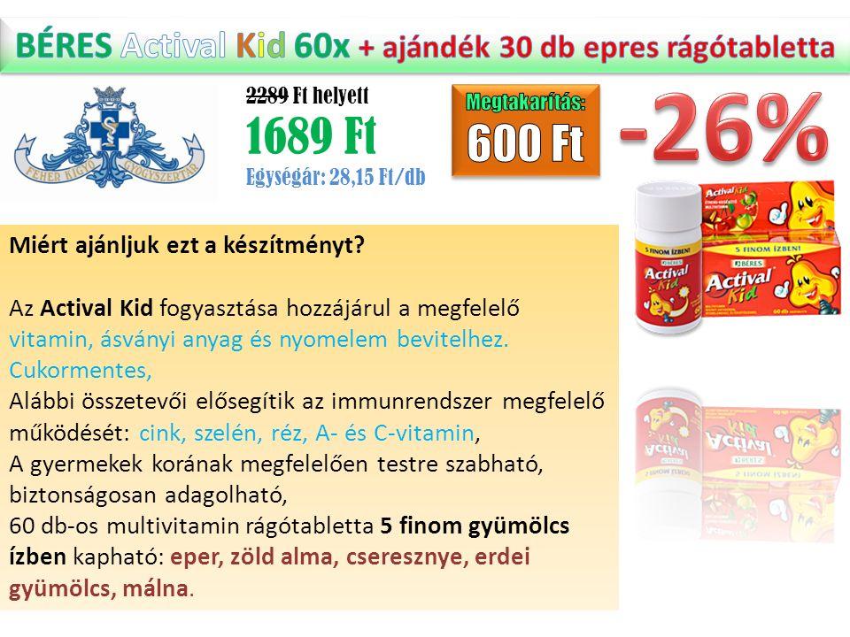 2289 Ft helyett 1689 Ft Egységár: 28,15 Ft/db Miért ajánljuk ezt a készítményt? Az Actival Kid fogyasztása hozzájárul a megfelelő vitamin, ásványi any
