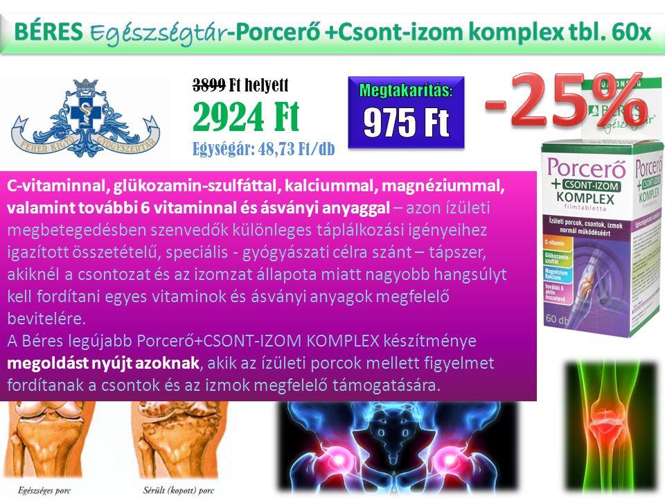 C-vitaminnal, glükozamin-szulfáttal, kalciummal, magnéziummal, valamint további 6 vitaminnal és ásványi anyaggal – azon ízületi megbetegedésben szenve