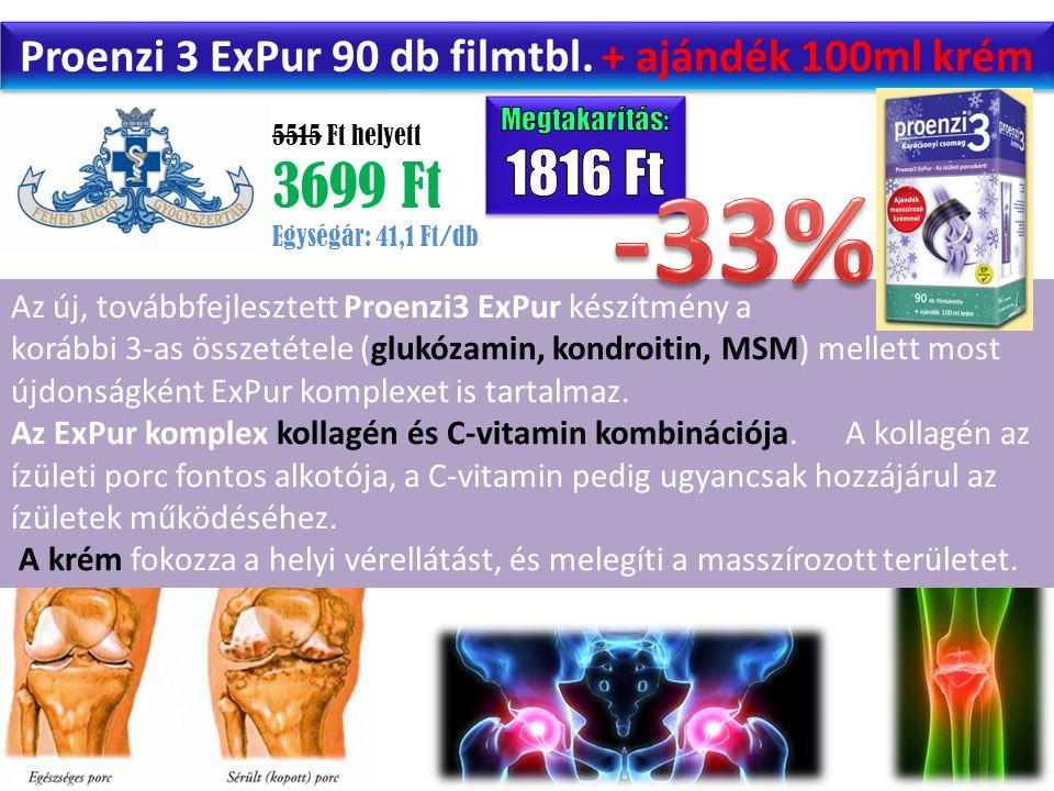 5515 Ft helyett 3699 Ft Egységár: 41,1 Ft/db Proenzi 3 ExPur 90 db filmtbl. + ajándék 100ml krém Az új, továbbfejlesztett Proenzi3 ExPur készítmény a