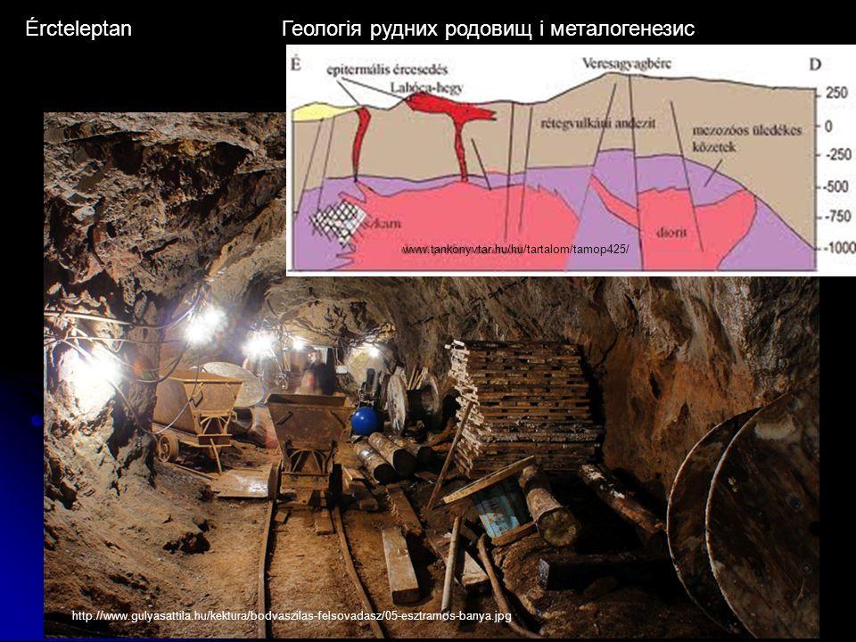 ÉrcteleptanГеологія рудних родовищ і металогенезис http://www.gulyasattila.hu/kektura/bodvaszilas-felsovadasz/05-esztramos-banya.jpg www.tankonyvtar.hu/hu/tartalom/tamop425/