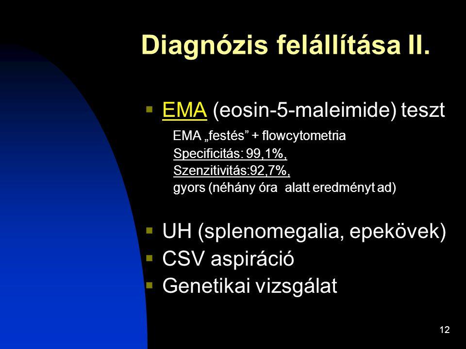 """12 Diagnózis felállítása II.  EMA (eosin-5-maleimide) teszt EMA """"festés"""" + flowcytometria Specificitás: 99,1%, Szenzitivitás:92,7%, gyors (néhány óra"""
